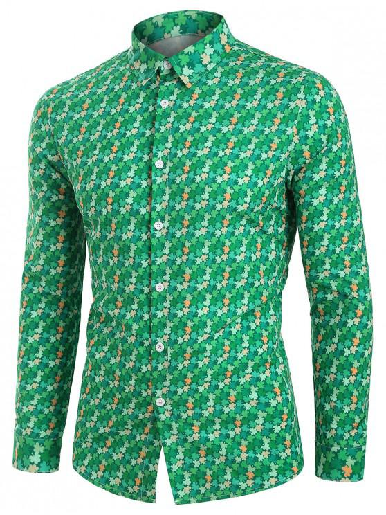 womens Tiny Leaves Button Up Long Sleeve Shirt - GREEN 2XL
