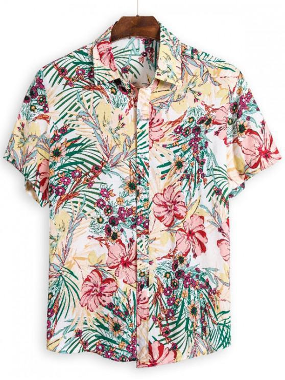 unique Ditsy Floral Short Sleeve Hawaii Shirt - MULTI 3XL