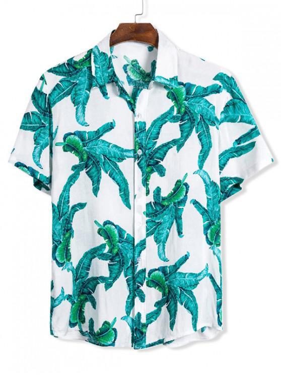 online Tropical Leaf Pattern Short Sleeve Beach Shirt - MULTI 3XL