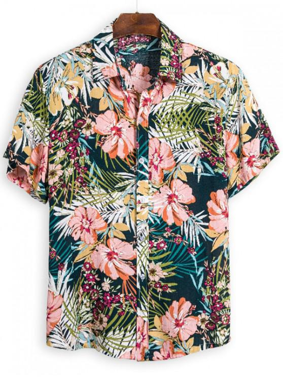 chic Hawaii Floral Leaf Pattern Beach Short Sleeve Shirt - MULTI 3XL