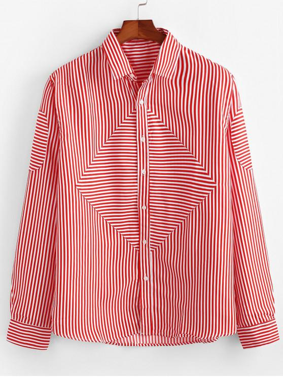 shops Striped Print Long-sleeved Button Shirt - RED 2XL