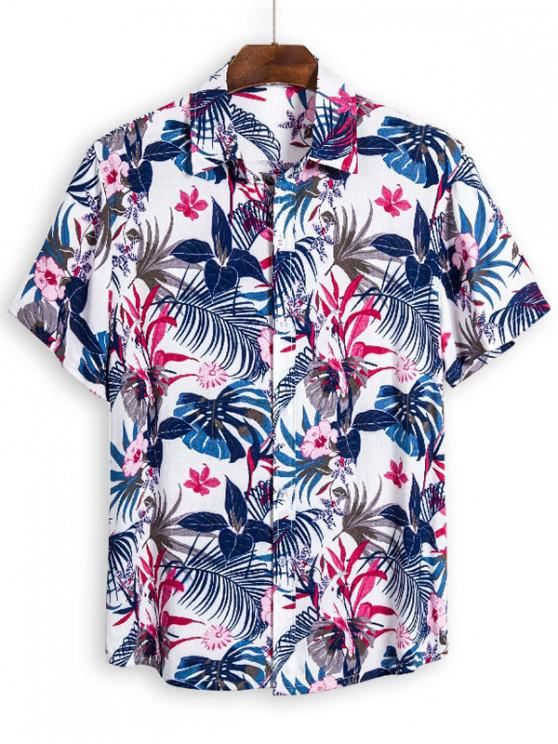buy Leaf Tiny Flower Short Sleeve Hawaii Shirt - MULTI 3XL