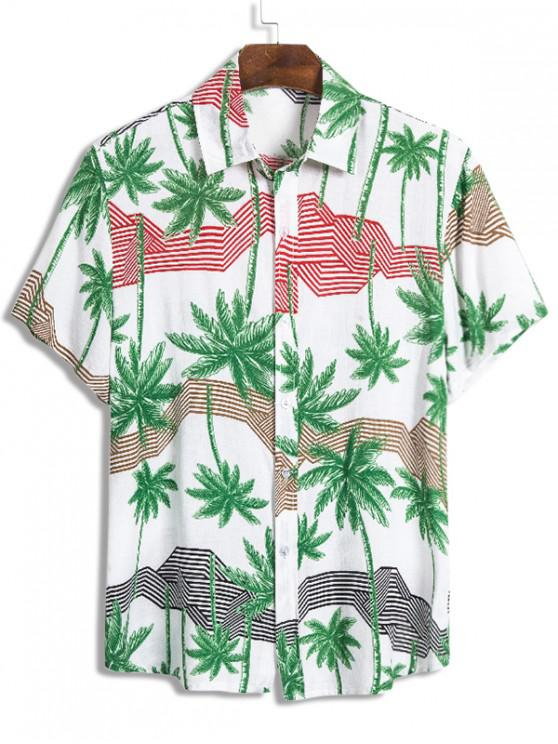 affordable Palm Tree Pattern Short Sleeve Beach Shirt - MULTI 2XL