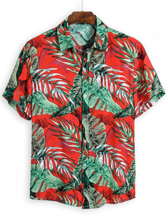 new Leaves Pattern Hawaii Button Up Shirt - MULTI 3XL
