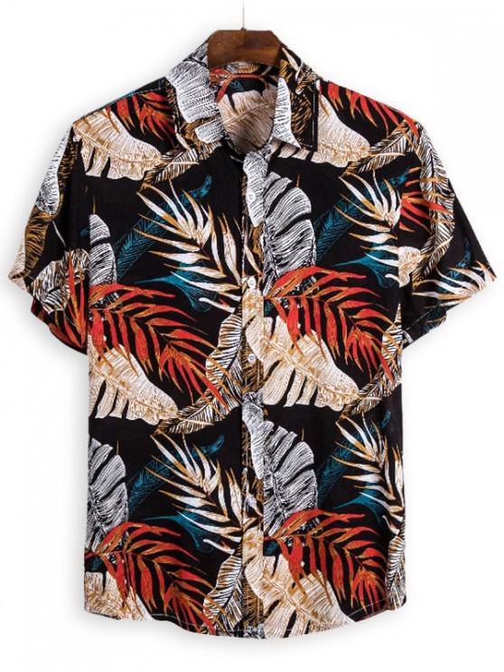 shops Leaves Print Vintage Short Sleeve Shirt - MULTI 3XL