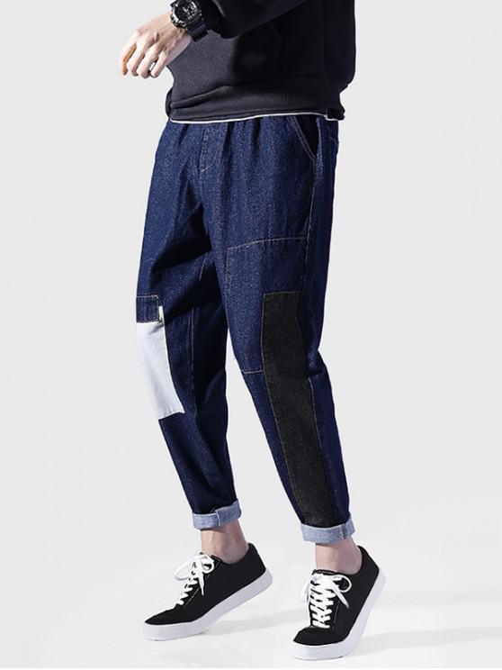 fancy Color Blocking Drawstring Casual Jeans - DEEP BLUE XL