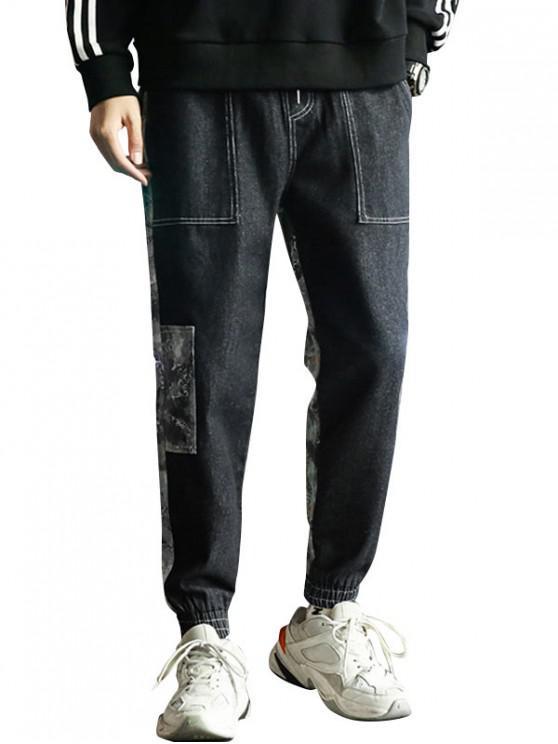 trendy Camo Print Spliced Design Jogger Pants - BLACK XS