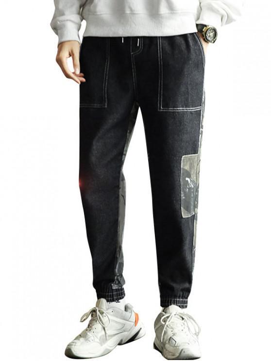 women Camo Print Spliced Design Jogger Pants - GRAY XL