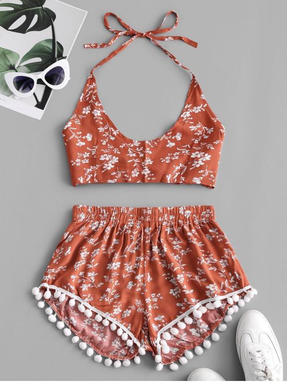 buy Floral Print Knotted Back Pompoms Shorts Set - CHESTNUT RED S