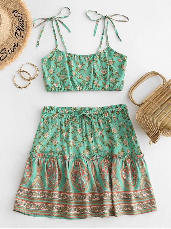 ladies Tie Shoulder Smocked Back Floral Two Piece Dress - MULTI-A M