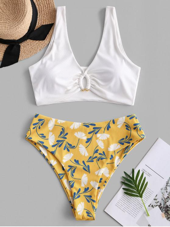 hot ZAFUL Ribbed Plunge High Cut Flower Tankini Swimwear - WHITE 2XL