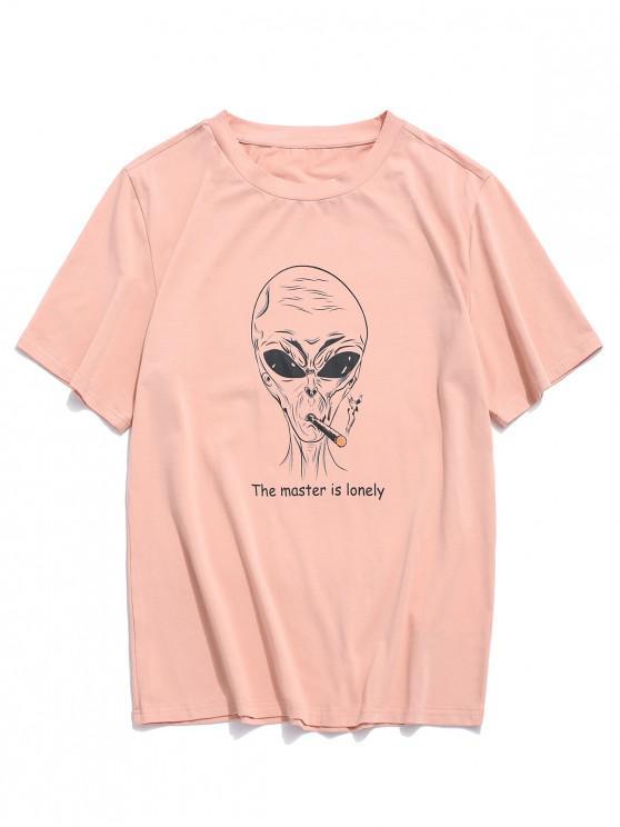 buy ZAFUL Letter Cartoon Pattern T-shirt - ROSE M