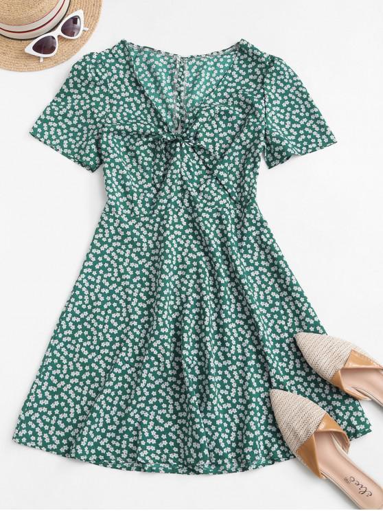 chic Ditsy Print Tie Knot Plunging Mini Dress - DEEP GREEN L