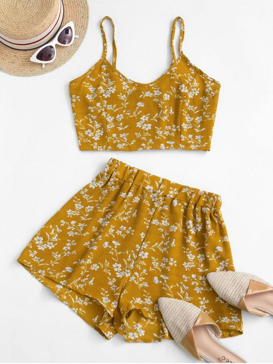 women's Ditsy Print Smocked Wide Leg Shorts Set - YELLOW S