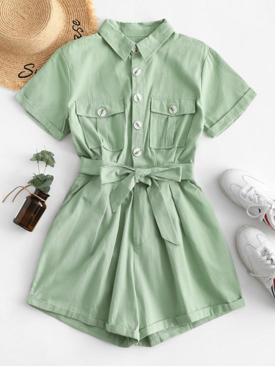 lady Flap Pockets Belted Half Buttoned Cargo Romper - LIGHT GREEN S