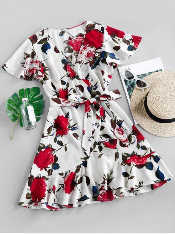 latest ZAFUL Floral Print Mini Surplice Dress - CRYSTAL CREAM M
