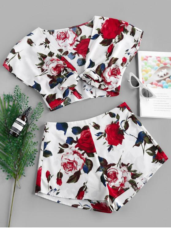 shops ZAFUL Flower Knotted Crop Two Piece Set - WHITE M