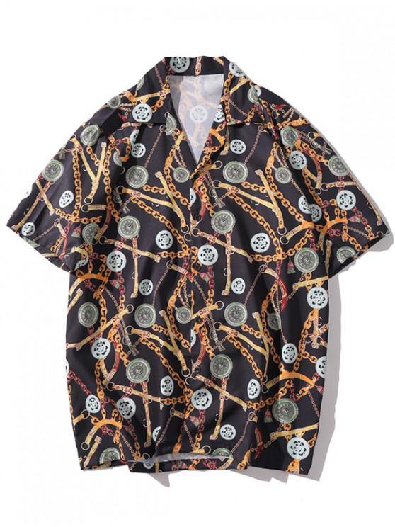 unique Casual Chain Print Short Sleeves Shirt - MULTI-E 2XL