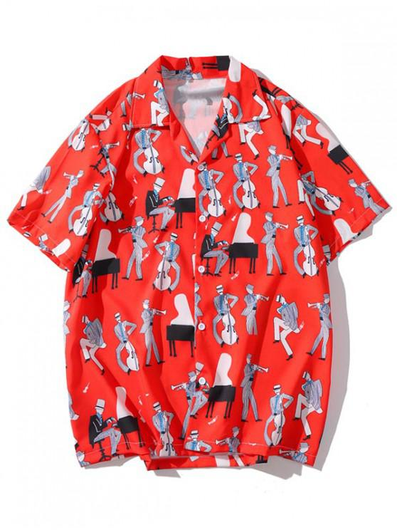 outfits Music Instrument Printed Casual Shirt - RED XL