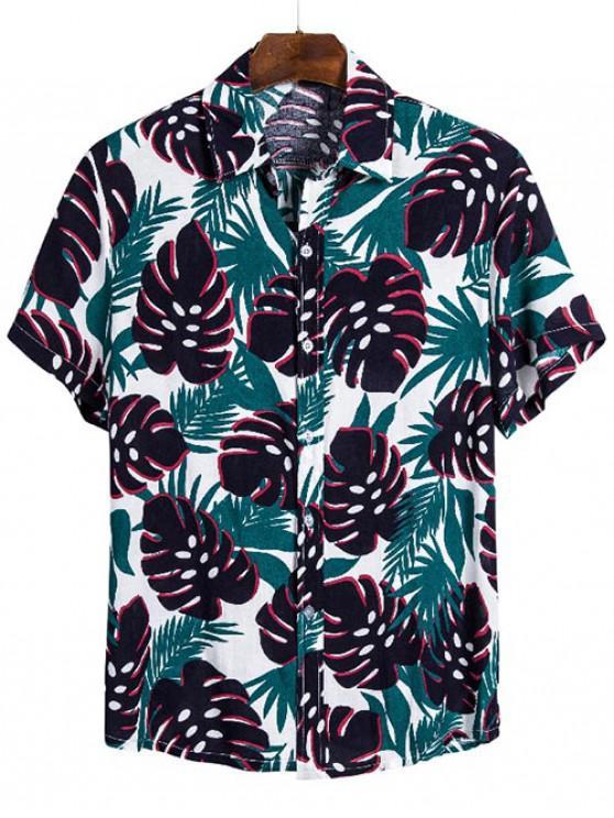 Camisa Hawaii Hojas Botones - Multicolor 3XL