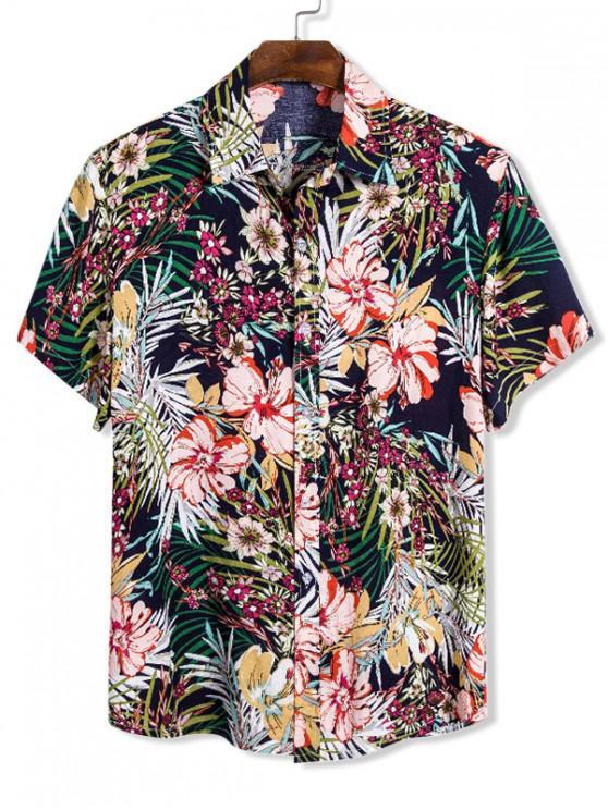 Camisa Hawaii Manga Corta Floral - Multicolor L