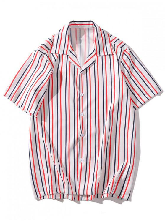 trendy Striped Print Casual Button Shirt - MULTI-L 2XL
