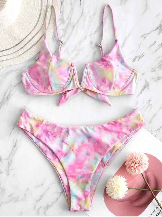 latest ZAFUL Tie Dye V Notch High Cut Bikini Swimwear - PINK L