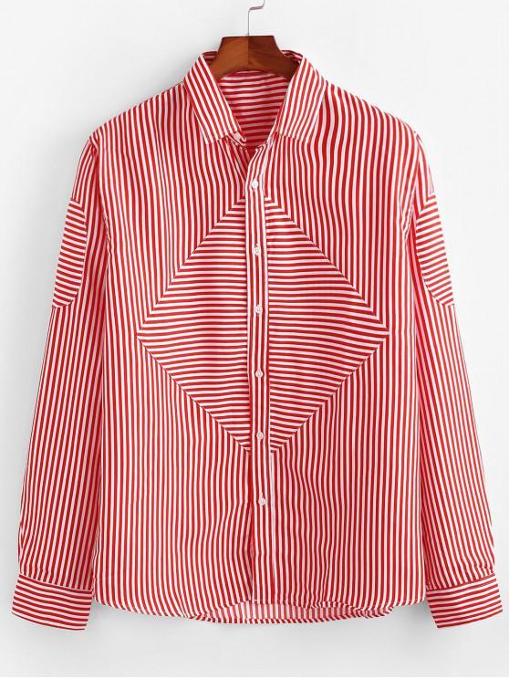 مخطط طباعة بأكمام طويلة زر القميص - أحمر 2XL