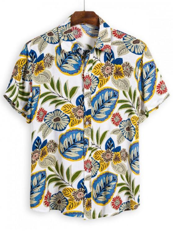 Camisa Hawaii de Manga Larga con Botones de Hoja - Multicolor 3XL