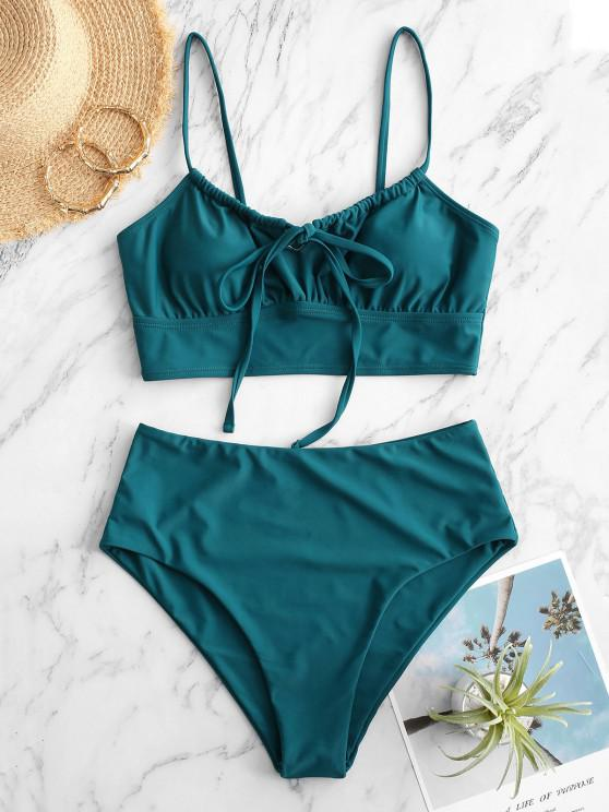 outfit ZAFUL Tie Ruched High Cut Tankini Swimwear - GREENISH BLUE L