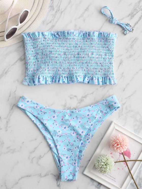 ZAFUL Ditsy Floral Smocked Bandeau Frilled Bikini Swimwear - البحر الأزرق S
