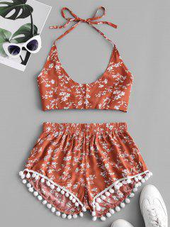 Floral Print Knotted Back Pompoms Shorts Set - Chestnut Red S