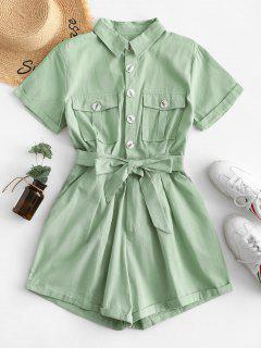 Flap Pockets Belted Half Buttoned Cargo Romper - Light Green S