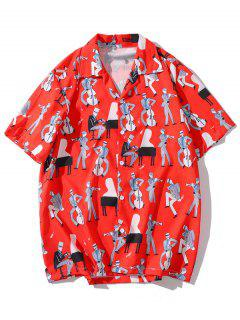 Music Instrument Printed Casual Shirt - Red 2xl