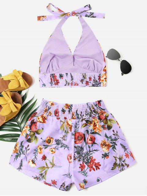 new Print Halter Top and Shorts Set - PURPLE M Mobile