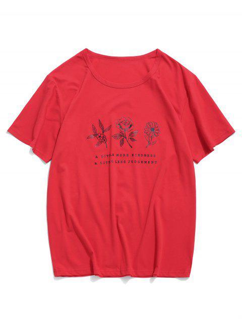 碎花圖形休閒短袖T卹 - 紅 L Mobile