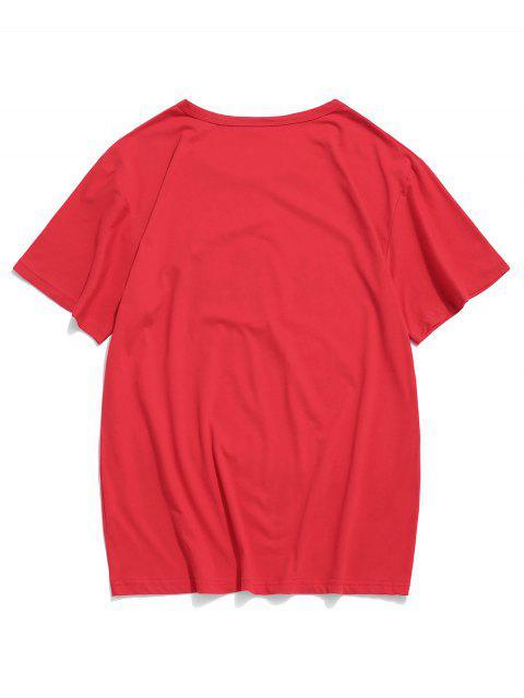 碎花圖形休閒短袖T卹 - 紅 S Mobile
