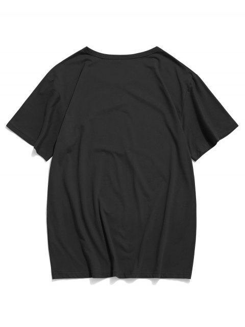 碎花圖形休閒短袖T卹 - 黑色 S Mobile