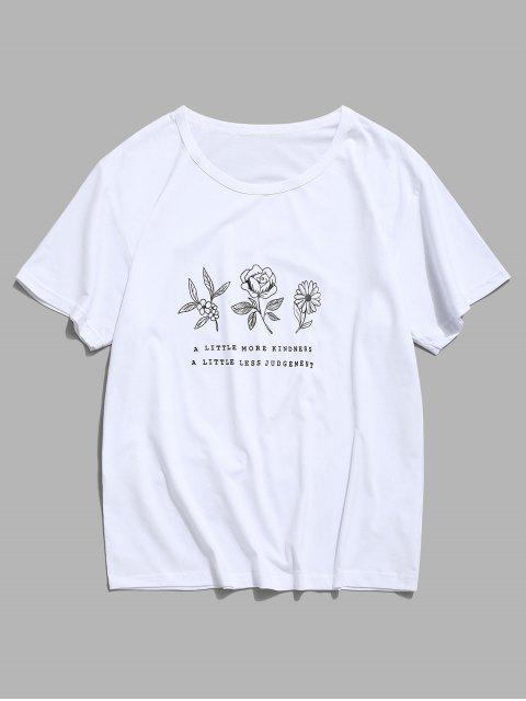 碎花圖形休閒短袖T卹 - 白色 L Mobile