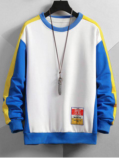 Farbblock Panel Buchstabe Patchwork Sweatshirt - Weiß M Mobile