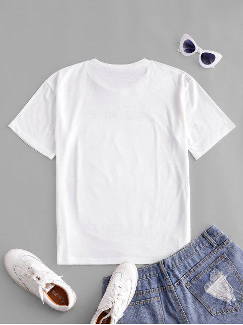 T-shirt Lettre Graphique Imprimée à Goutte Epaule - Blanc L Mobile