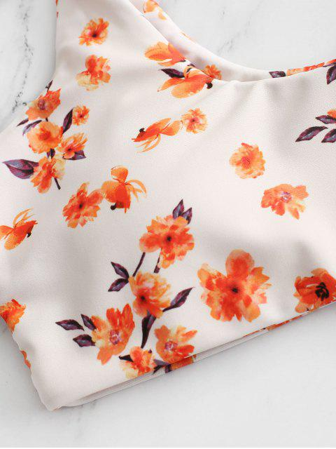 online ZAFUL Ditsy Floral Low Rise String Bikini Swimwear - ORANGE L Mobile