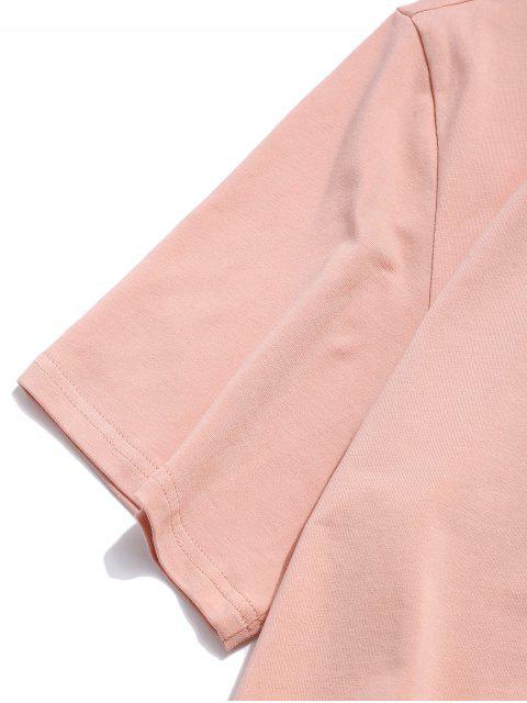 ZAFUL Camiseta con Patrón de Letras - Rosa M Mobile