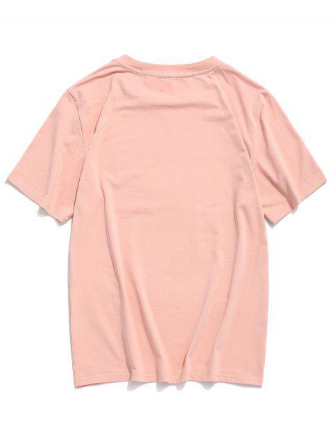 ZAFUL Camiseta con Patrón de Letras - Rosa L Mobile