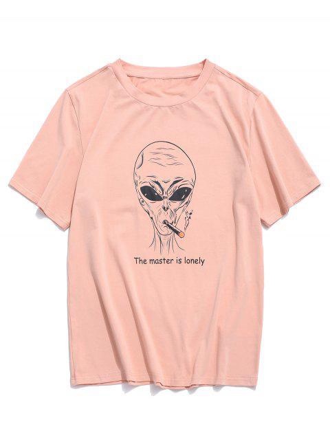 ZAFUL Camiseta con Patrón de Letras - Rosa XL Mobile