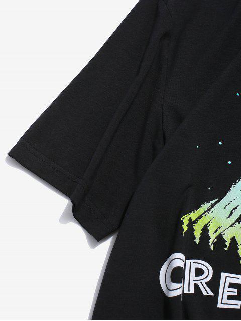ZAFUL Camiseta Casual con Estampado de Letras - Negro 2XL Mobile