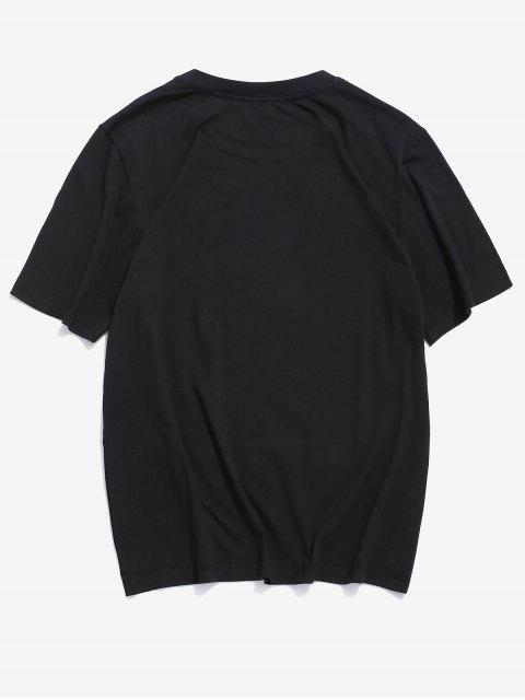 ZAFUL Letter Graphic Print Casual T-shirt - أسود 2XL Mobile
