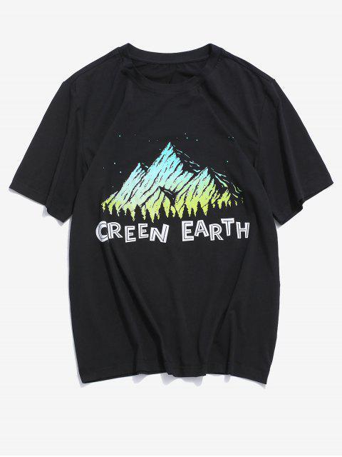 ZAFUL Carta Gráfico Impresso T-shirt Casual - Preto 2XL Mobile