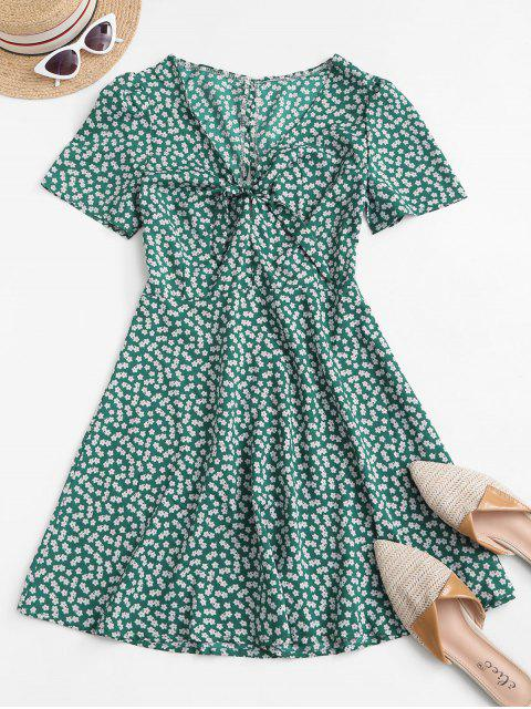 shops Ditsy Print Tie Knot Plunging Mini Dress - DEEP GREEN M Mobile