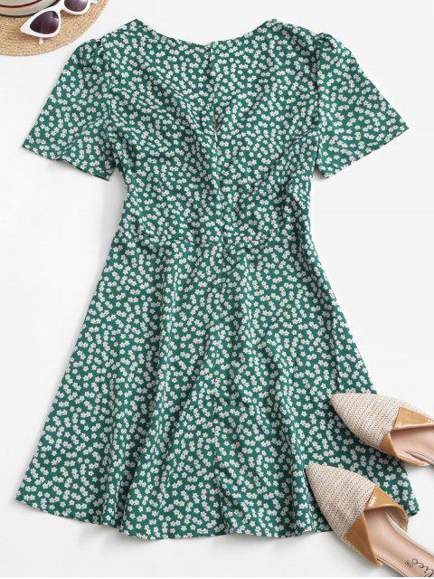 fancy Ditsy Print Tie Knot Plunging Mini Dress - DEEP GREEN XL Mobile